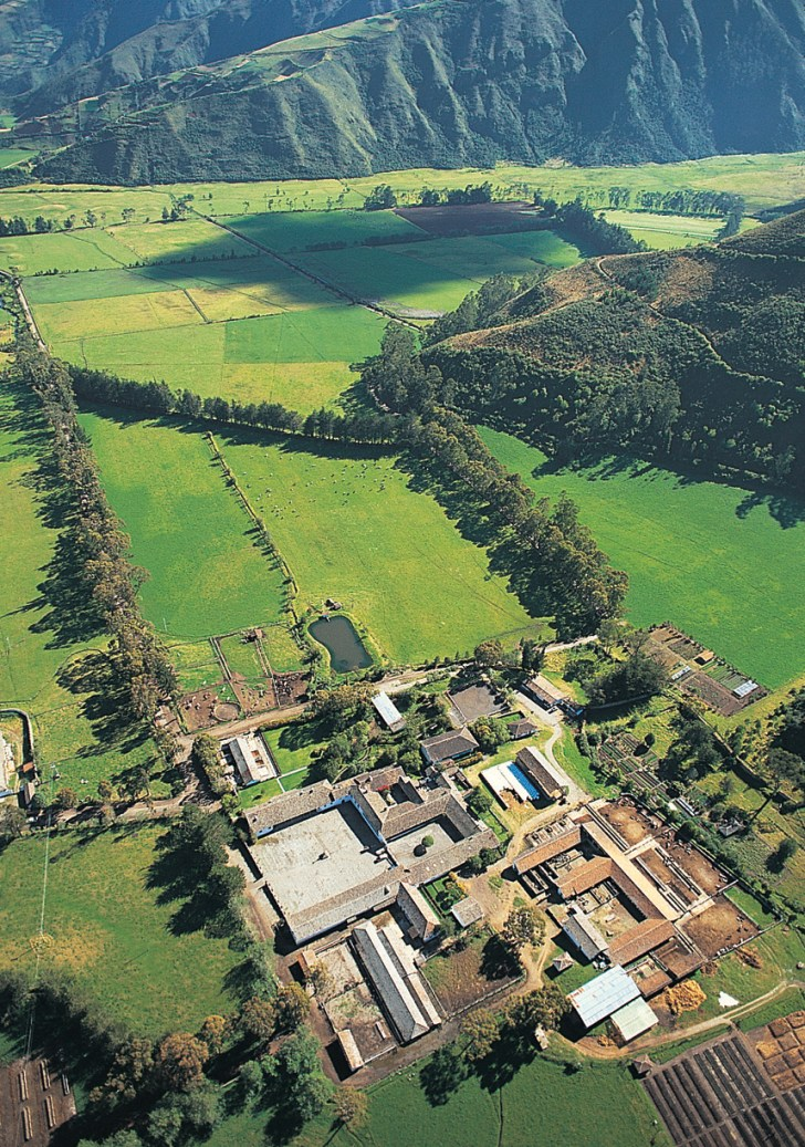 Aerial view of the colonial working farm