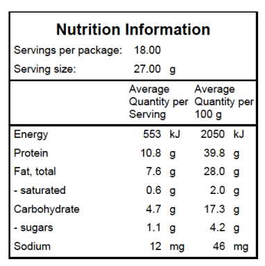 Berry Baobab Nutrition Label
