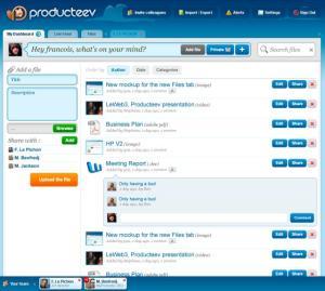 Screen capture of the open program producteev