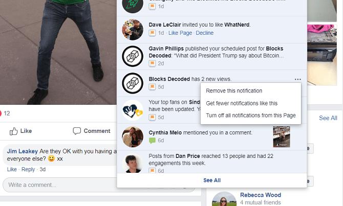 facebook désactiver la notification pour la page
