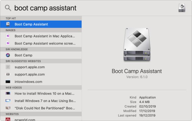 Assistant Boot Camp dans la recherche Spotlight
