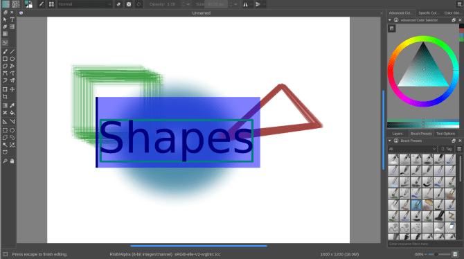wie man Krita vs GIMP - Formen benutzt