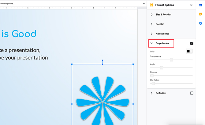 Modification d'image dans Google Slides Drop Shadow