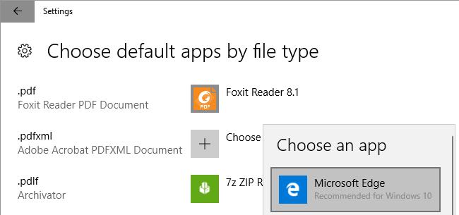Il s'agit d'une capture d'écran de Windows 10, choisissez l'application par défaut par type de fichier