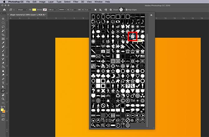Comment utiliser l'outil de forme personnalisée Menu déroulant de forme Photoshop