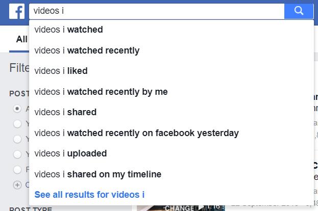 recherche de vidéos facebook liste de suggestions