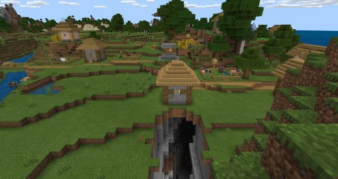 village minecraft avec ravin et bastion