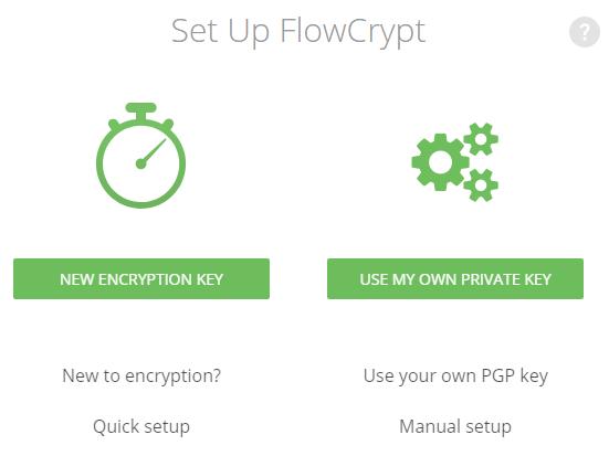 page de configuration initiale de flowcrypt