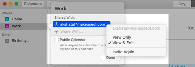 Calendrier partagé dans Apple Calendar sur Mac