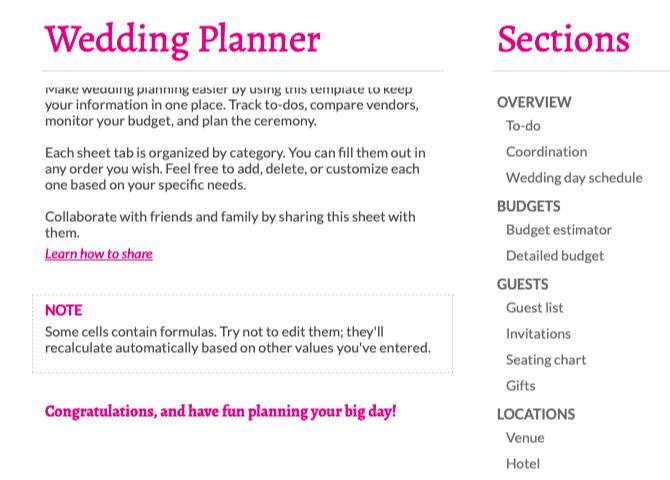 Modèle de planificateur de mariage dans Google Sheets