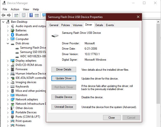 Options de périphérique du Gestionnaire de périphériques Windows