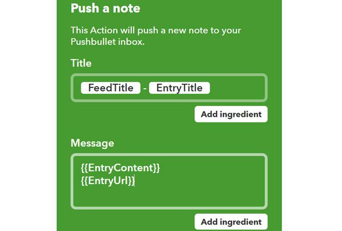 IFTTT RSS und Applet Pushbullet