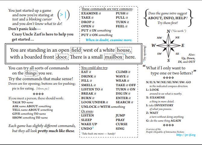 Spickzettel für textbasierte Spiele