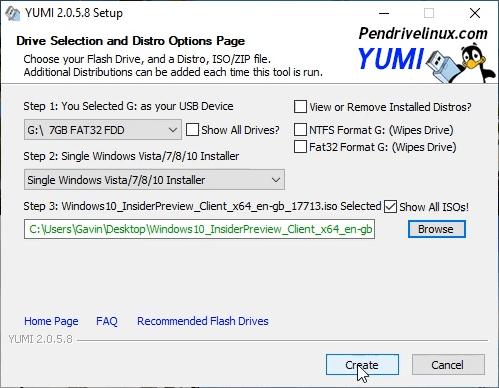 YUMI peut créer une clé USB amorçable à partir d'un fichier ISO