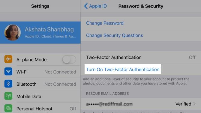Apple-ID-Authentification à deux facteurs-iOS