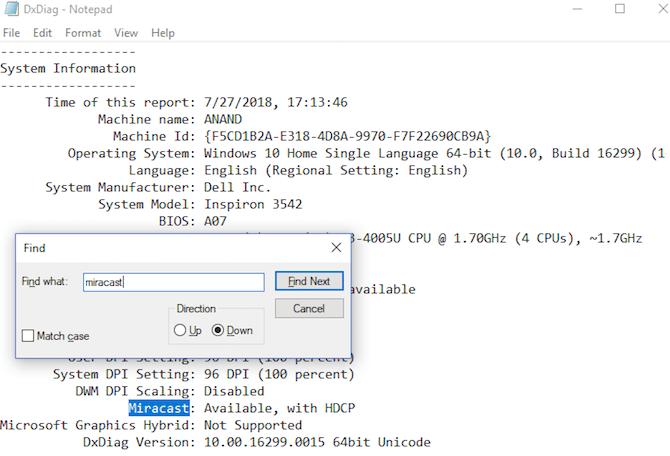 So projizieren Sie Windows 10 mit Miracast dxdiag notepad miracast auf TV
