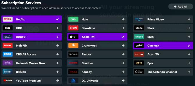 Auswahlbildschirm für den Reelgood-Abonnementdienst