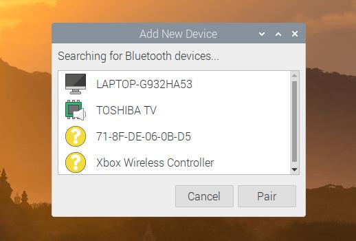 Raspberry Pi Bluetooth-Auswahlmenü
