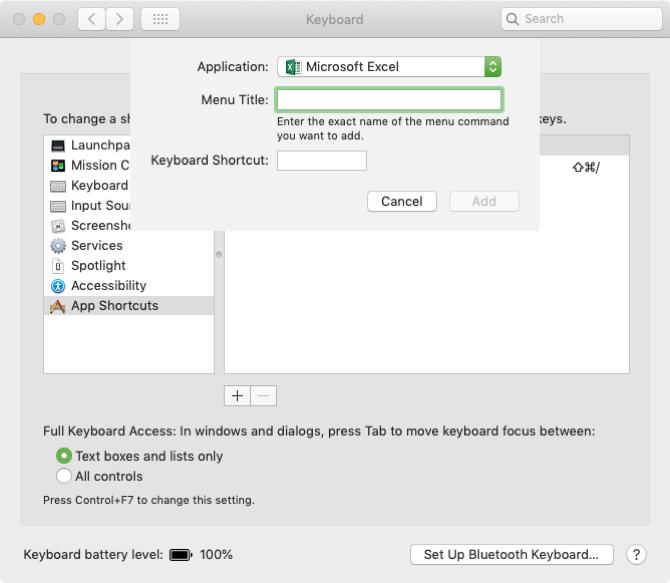 Passen Sie Tastaturkürzel für Apps auf dem Mac an