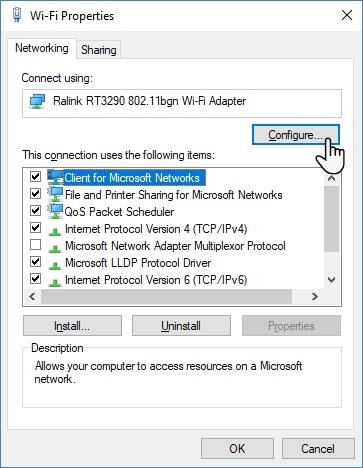 So deaktivieren Sie Wi-Fi, während Sie Ethernet in den Windows 10 Wi-Fi-Eigenschaften verbinden