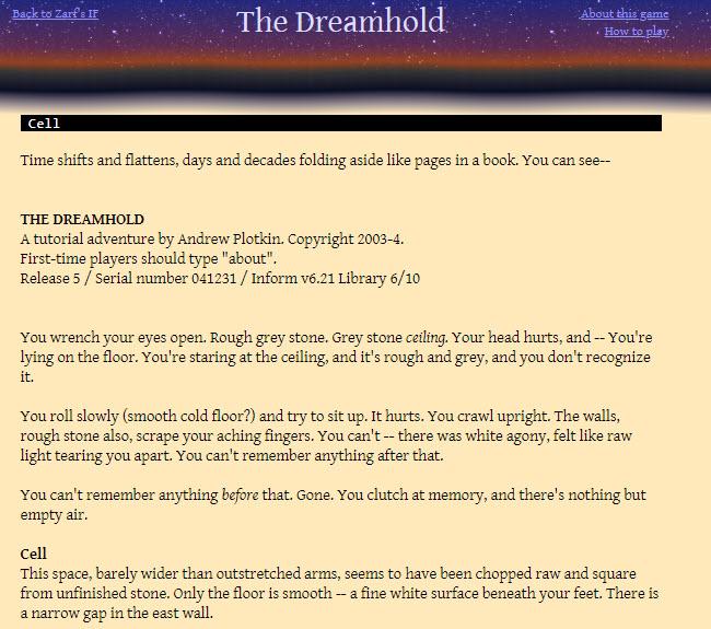 Textbasierte Spiele - The Dreamhold