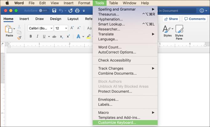 Passen Sie die Tastaturoption im MS Word-Menü auf dem Mac an