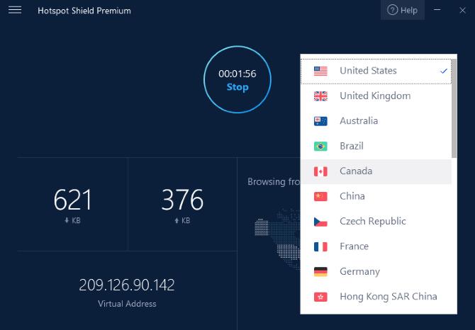 VPNs stellen normalerweise Server in Ländern auf der ganzen Welt bereit