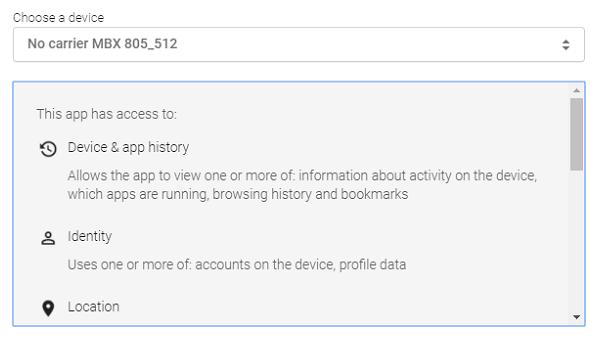 Dieser Screenshot zeigt ein Android-Gerät im Google Geräte-Manager