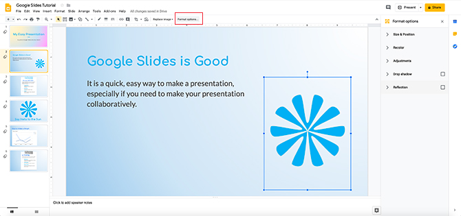 Édition d'images dans les options de format de Google Slides