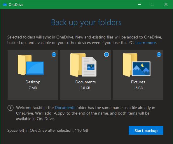 OneDrive-Sicherungsordner