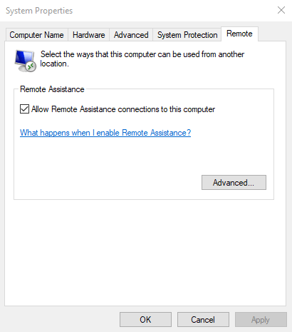 Activer l'assistance à distance dans Windows 10