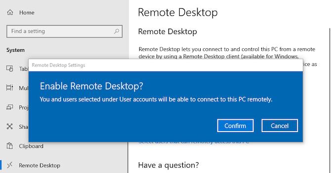 activer le bureau à distance sur Windows 10
