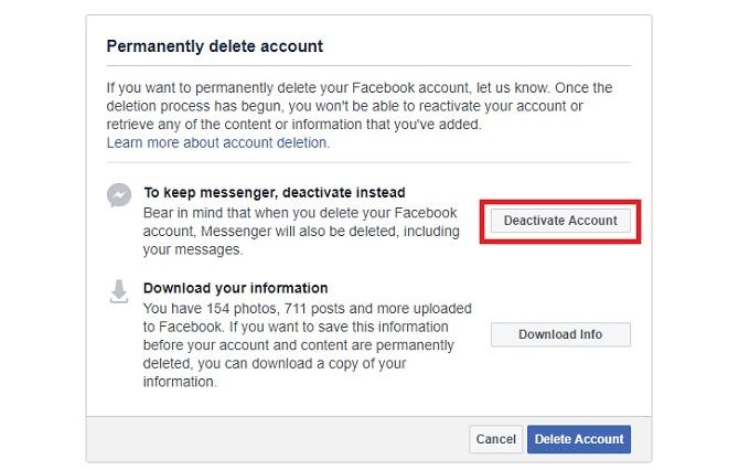 Facebook vous conseille de désactiver votre compte si vous continuez à utiliser Messenger