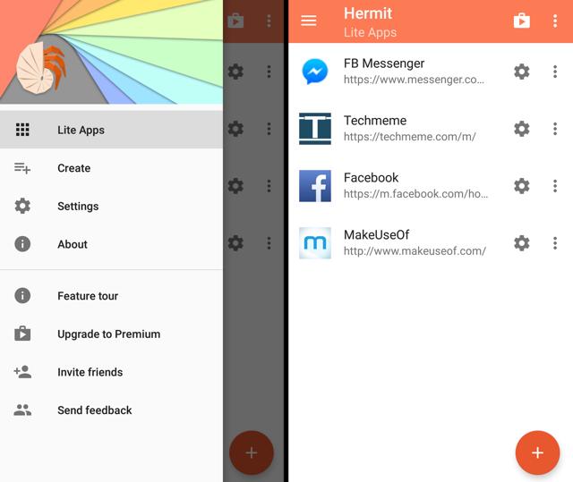 Einsiedler-Android-Lite-Apps-Menü