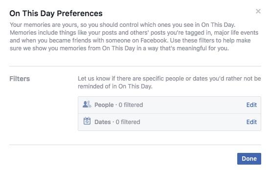 Passen Sie den Facebook-Speicher an
