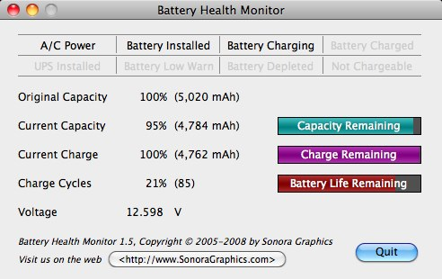 moniteur de batterie de macbook