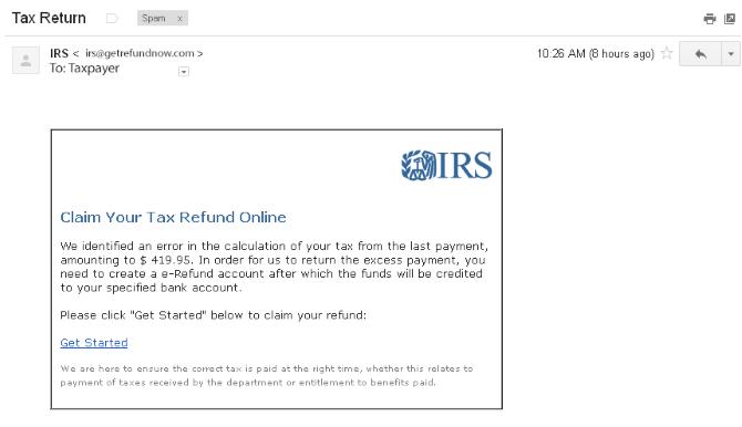 e-mail de remboursement de l'IRS