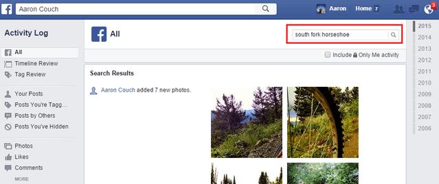 5.2 Facebook - Toutes les activités - Rechercher des publications