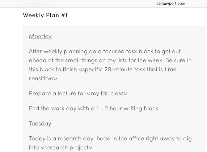 wöchentliche prioritätsliste von cal newport