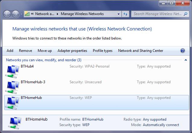 Drahtlosnetzwerke verwalten