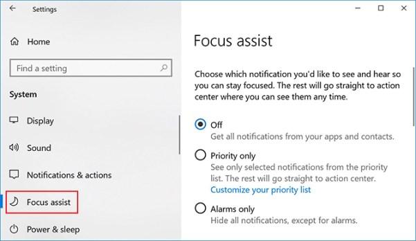 Verwendung des Fokus-Assistenten für den Windows-Fokus-Assistenten (ehemals Ruhige Stunden)