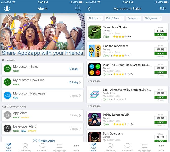 So sehen Sie, wann kostenpflichtige iOS-Apps kostenlos werden AppZapp