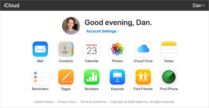 Page d'accueil iCloud avec boutons d'application