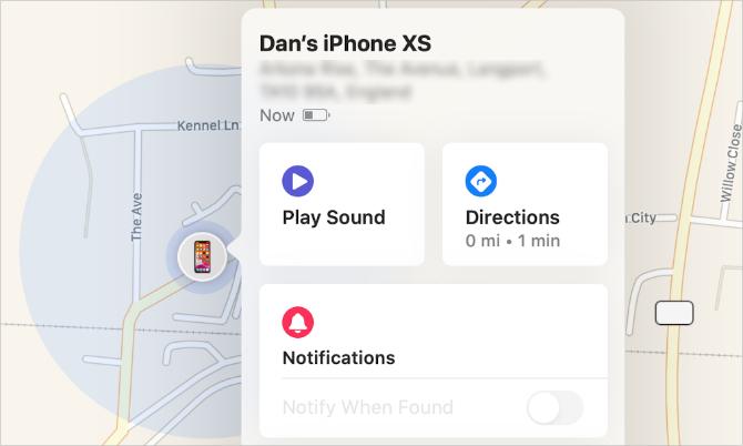 Bouton Play Sound dans Find My app sur Mac