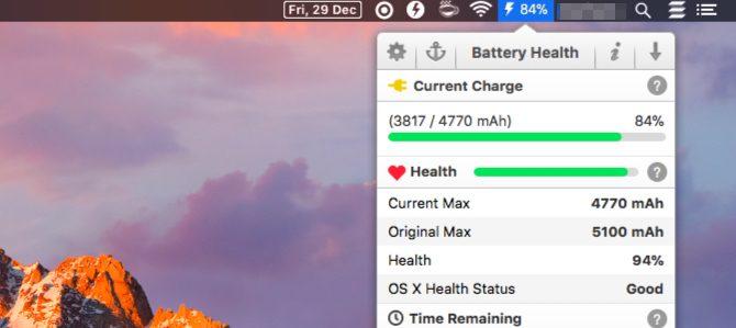 applications de la barre de menus de la batterie-santé-Mac