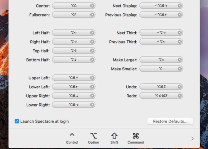 spectacle-raccourcis-Applications de la barre de menus Mac