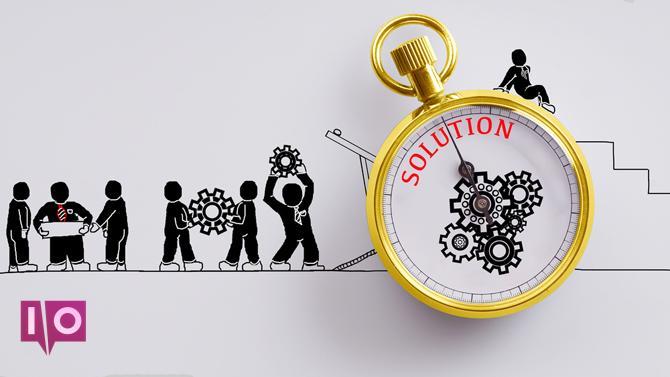 Solution de cog de travailleur de temps