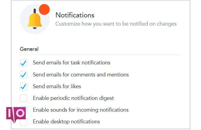 paramètres de notification de tâche meister