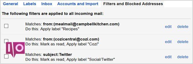 filtres de vue des paramètres de gmail