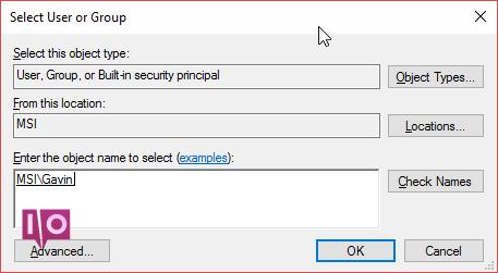 Windows 10 sélectionner les autorisations des utilisateurs ou des groupes